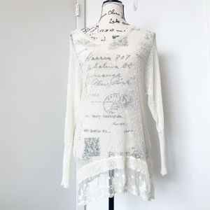 American Rag Sheer Cream Sweater with Lace Trim
